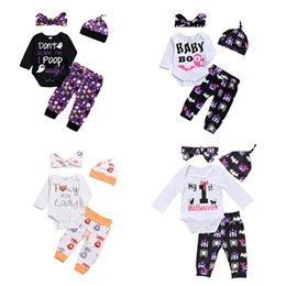 ghost clothing Canada - Halloween baby outfits children boys girls pumpkin ghost fox print hat+romper+pants with headband 4pcs set Autumn kids Clothing Sets C5187