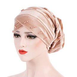 hair loss women Australia - Muslim Women Stretch Cross Bead Velvet Ruffle Turban Hat Cancer Chemo Beanies Headwear Wrap Plated Hair Loss Accessories