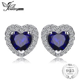 sapphire studs earrings UK - JewelryPalace Heart Of The Ocean 1.2ct Created Blue Sapphire 925 Sterling Silver Stud Earrings Fine Jewelry for Women D1892601