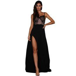 $enCountryForm.capitalKeyWord UK - Elegant Evening Formal Dresses 2018 Party Gown Sexy Black Lace Illusion Top Spaghetti Strap High Slit Dress Women Clothes