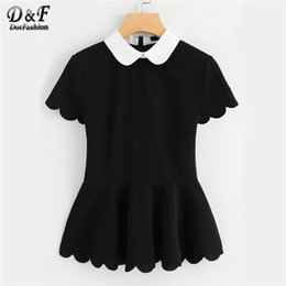 $enCountryForm.capitalKeyWord Canada - Dotfashion Contrast Peter Pan Collar Scallop Peplum Top 2018 Short Sleeve Ruffle Hem Female Top Black Zipper Slim Fit Blouse