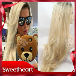 $enCountryForm.capitalKeyWord Canada - Hot Cheap Cosplay Long Wavy Blonde Heat Resistant Synthetic Lace Front Wig for Women with Dark Root Ombre Blonde Wigs Free Parting
