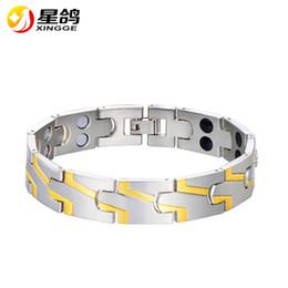Discount silver bracelets men designs - New Design Magnetic Health Bracelets for Men silver&gold color Luxury Fashion Copper Jewelry Pulsera bijoux wholesale