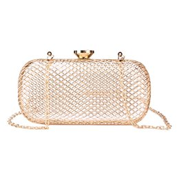 clutches for evenings UK - Hot sale Hollow Out Women clutch bag golden metal Evening bag ladies Handbags diamond Chain messenger bag clutch purse for party
