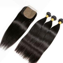 $enCountryForm.capitalKeyWord Australia - Slove Silk Base Closure With Bundles Straight Human Remy Hair Brazilian Lace Closure 4*4 Bleached Knot Pre Bleacked Slove Rosa Product