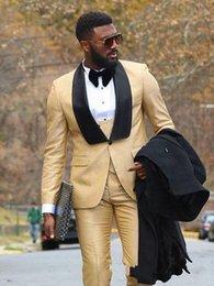 I migliori uomini d'oro di design smoking da sposa scialle nero risvolto smoking dello sposo con un bottone da sposa / promenade / cena / vestito darty (giacca + pantaloni + cravatta + gilet) 83