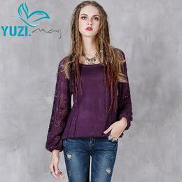 $enCountryForm.capitalKeyWord Canada - Sweater Women 2017 Yuzi.may Boho New Cotton Wool Pullover O-Neck Hollow Out Lantern Sleeve Skin Friendly Pull Femme B9136