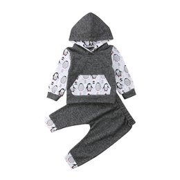 China New Cute Cool Penguin Baby Boy Girl Outfits Long Sleeve and Long Pants Hooded Outfit Set Casual Clothes cheap cool spring outfits suppliers