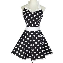 Wholesale sexy black apron for sale - Group buy New Design Retro Cute Sexy Waiter Apron Dress With Pocket Cotton White Lace Black Polka Dot Kitchen Chef Cooking Aprons For Woman