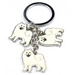 Animal Handmade Canada - HOT Samoyed Animal Keychains Dogs Keychain Silver Pendant Charm Handmade Gifts For Pet Lovers Dog Jewelry Woman Key Ring Holder