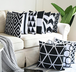 Black white print throw pillows online shopping - Geometric Cushion Cover Black and White Polyester Throw Pillow Case Striped Dotted Grid Triangular Geometric Art Cushion Cover