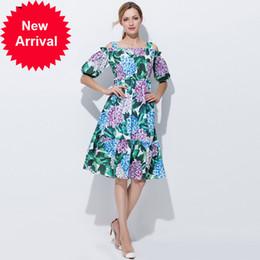 5b3cb116c57 High Quality 2017 Runway Designer Summer Dress Women Elegant Off the  Shoulder Casual Green Floral Print A-Line Knee Length Dress