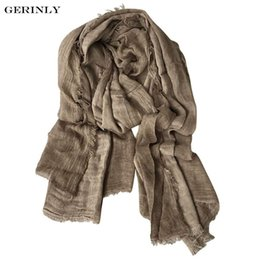 $enCountryForm.capitalKeyWord NZ - New Fashion Cotton Linen Scarf Brand Warm Long Shawls Soft Lightweight Scarves Crinkle Striped Wrap for Men and Women