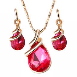 Deep Alloys NZ - Austria Zircon Crystal Alloy Necklace Earrings Jewelry Set Drop Shape Pendant Stud Earrings Women's Wedding Dinner Luxury Jewelry Gift