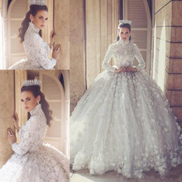 Wholesale Luxury Beaded Crystal Ball Gown Wedding Dresses D Floral Lace Appliqued High Neck Long Sleeves Muslim Bridal Wedding Gowns