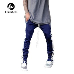 Chinese  2017 Lengthened Section Sweatpants Men Occident Retro Hip Hop Trousers Side Zipper Hit Color Unisex Casual Pants manufacturers