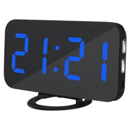 Discount lit mirror - Hot Multifunction LED Mirror Alarm Clock Digital Clock Snooze Display Time Night Led Light Table Desktop Alarm