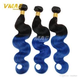 Discount black human hair braiding - Two Tone 1B Blue Ombre virgin human Brazilian Hair Body Wave 3pcs Black And Blue Ombre Weave Ombre Human Hair Extensions