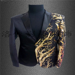 Wholesale stage costumes singers resale online - Sequin Mens stage jacket Gold Blazer For Men Costumes Club Singer Sequins Black Gold Blazer Stage Black Red Men