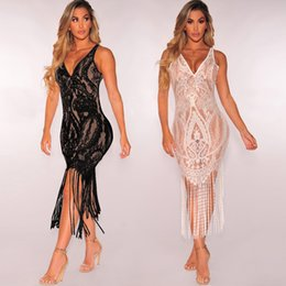 $enCountryForm.capitalKeyWord Canada - MAYFULL NEW FASHION women Sexy v-neck empire sleeveless dress lady lace tassels bikinis transparent evening party dress female