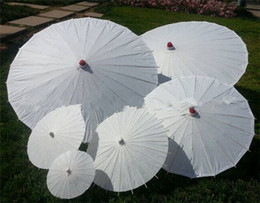 Wholesale Wholesale Cheap White Paper Umbrellas Bridal Wedding Parasols Chinese Style Mini Craft Umbrella DIY Painting Wedding Umbrella