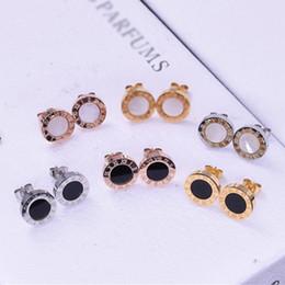 Stud earringS allergy online shopping - Fashion Titanium Steel Stud Earrings for Women Men White and Black Shell Bulgaria Earrings Fine Jewelry Not Fade Anti Allergy