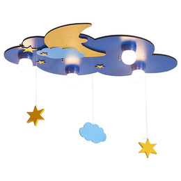 wood ceiling lights UK - OOVOV Creative Kid's Room Clouds Ceiling Lamps,Blue,Wood,Girl's,Boy,Baby,kindergarten,Children's Room Ceiling Light