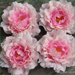 Discount hand made for home - 12cm Artificial Peony Flower Hand Made Raw Silk Real Touch For Wedding Party Bride Bouquet Decoration Romantic Home Flor