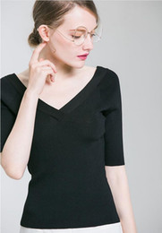 Wholesale Spring and summer new classic simple sweater V collar Slim female five point sleeve T shirt loose women s knits