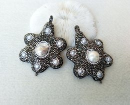 flower necklace pearls crystals beads 2019 - 4Pcs Natural Pearl Flower Shape Pendants Pave Rhinestone Bead connector Charms For Making Necklaces Jewelry findings CT2