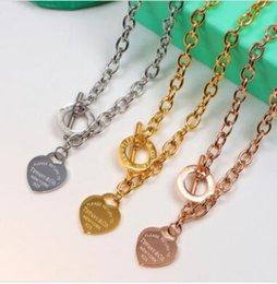 Twisted Ring Pendants NZ - Wholesale 2018 heart ring pendant necklace for women 18k thick chain necklace