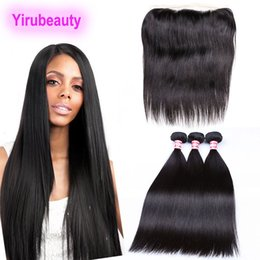 $enCountryForm.capitalKeyWord NZ - Peruvian Virgin Human Hair 4 Pieces lot Pre Plucked 13 X 4 Lace Frontal With Bundles Straight Hair Extensions Human Hair Wefts With Closure