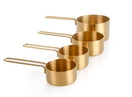 Wholesale Copper Kitchen UK - High Quality Copper Stainless Steel Measuring Cups 4 Pieces Set Kitchen Tools Making Cakes and Baking Gauges Measuring Tools wn535 100pc