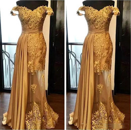Wholesale Elegant Gold Mermaid Evening Dresses Latest Lace Beaded Prom Dress Ruched Floor Length Illusion Skirt Formal Party Gowns Plus Size