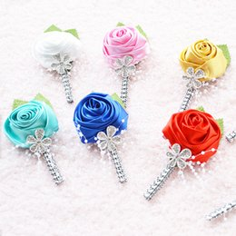 Discount suit display - Brand New Best Man Groom Boutonniere Satin Rose men buttonhole Wedding Party Prom Man Suit Corsage Pin Brooch