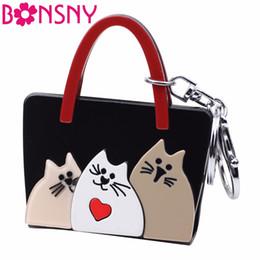 b4b0e3b95b Fashion Handbags Imitation Australia - Acrylic Womens Bag Cat Kitten  Pattern Handbag Shape Key Chain Key