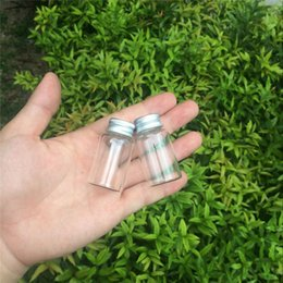 wholesale metal bottle caps NZ - 27*50*14mm 15ml Mini Glass Bottles With Metal Screw Cap Empty Small Wishing Bottle Glass Vials Jars 50pcslot