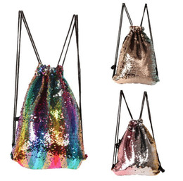 Backpacks Shops Canada - Hot sale Mermaid Sequins Drawstring Shoulder Bag Reversible Sequin Backpack Glittering Dance Bag Shopping Travel Sports Gym Bags