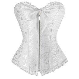 1d8e6da12 Sexy White women corse Plus size Corset zipper overbust shapewear with  thong burlesque korsett corpete corselet e espartilho E10