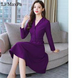 6b6a7ea1a0 La MaxPa 2018 New Autumn Winter Women Dresses 3XL Plus Size Long Sleeve  Slim Elegant Dress Notched Collar Office Work Lady Dress