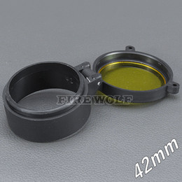 flashlight scope UK - 42mm Flashlight Cover Scope Cover Rifle Scope lens Cover Internal diameter 42mm Transparent yellow glass hunting