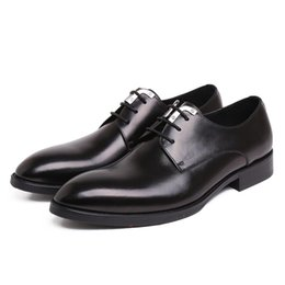 Discount leather work oxfords for men - 100% Genuine Leather Mens Wedding Dress Shoes High Quality Lace-Up Prom Oxford Shoes For Men Chic Office Work Business F