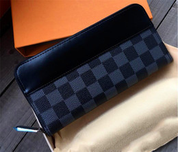 men long zip wallets 2019 - New fashion men designer wallet 63005 leather square zip wallet inner step interval and card top quality with box cheap