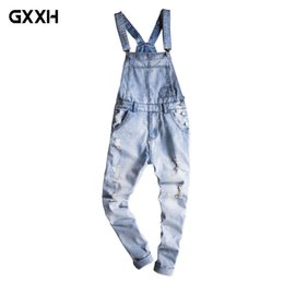 $enCountryForm.capitalKeyWord Australia - 2018 New Male Suspenders New Casual Light Blue Denim Overalls Ripped Jeans Pockets Men's Bib Jeans Boyfriend Jumpsuits Size 5XL