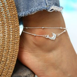 sea beach charms Australia - Vintage Multiple Layers Animal Dolphin Anklets for Women Charms Silver Color Beads Foot Chain Jewelry Beach Sea Party Gift