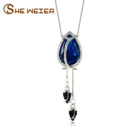 Necklaces Pendants Australia - whole saleSHE WEIER Long Sweater Chain Blue Tulip Pendant Zircon Flower Pendant Necklace For Women Jewelry Accessories