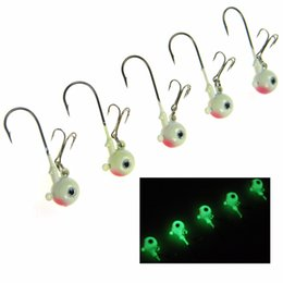lead hooks NZ - wholesale 8Pcs Lot 5cm 14g Glow Fishing Jigs Lead Round Head Jig Carbon Steel Treble Hooks Fishing Luminous Jigs Tackle Kit