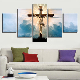 cross decor UK - Wall Art Decor HD Print 5 Pieces Christian Religion Jesus God And Cross Landscape Poster Painting Frame Modular Canvas Pictures