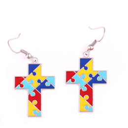 $enCountryForm.capitalKeyWord NZ - Enamel Autism Awareness Hope Cross Charm Heart Shape Pendent With Holes Jigsaw Puzzle Piece Religious Earrings Jewelry Gift