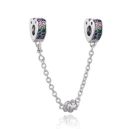 520ed08c0 New Authentic 925 Sterling Silver Multi-Colored Arcs of Love Safety Chain  Multi-Colored CZ & Crystals Fit Pandora Charms Bracelet Jewelry